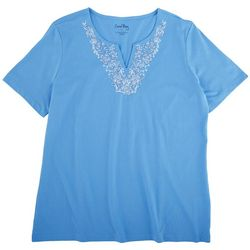 Coral Bay Womens V-neck Embroidered Top