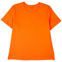 Coral Bay Womens Solid Scoop Short Sleeve Top