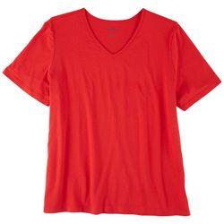 Coral Bay Womens V-Neck Short Sleeve Top