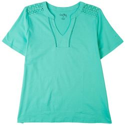 Coral Bay Womens Solid V-Neck Cutout Short Sleeve Top