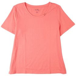 Coral Bay Womens Solid Scoop Neck Short Sleeve Top