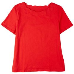 Coral Bay Womens Scalloped Rounded Neck Top