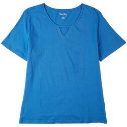 Coral Bay Womens Cutout Short Sleeve Top