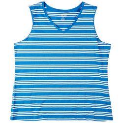 Coral Bay Womens Striped V-Neck Sleeveless Top