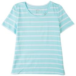 Coral Bay Womens Striped Short Sleeve Top