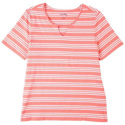 Coral Bay Womens Striped Cutout Short Sleeve Top