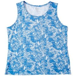 Coral Bay Womens Printed Jewel Sleeveless Top