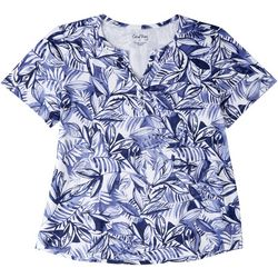 Coral Bay Womens Tropical Print Short Sleeve Top