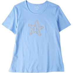 Coral Bay Womens Starfish Round Neck Short Sleeve Top