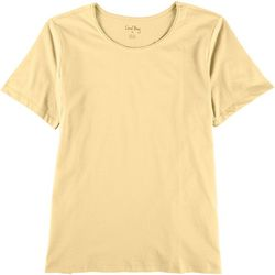 Coral Bay Womens Solid Short Sleeve Top