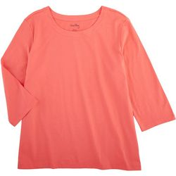 Coral Bay Womens Solid Scoop Neck Long Sleeve Top