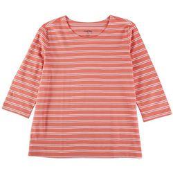 Coral Bay Womens Stripes 100% Cotton 3/4 Top