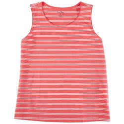 Coral Bay Womens Striped Round Neck Sleeveless  Top