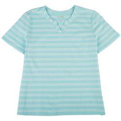 Coral Bay Womens Striped V-Neck Short Sleeve