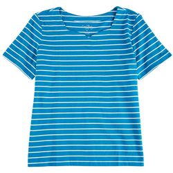 Coral Bay Womens 100% Cotton Striped Short Sleeve Top