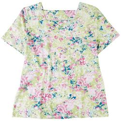 Coral Bay Womens Watercolor Floral Top