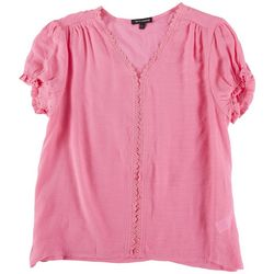 Tint & Shadow Womens Laced Neck  Top