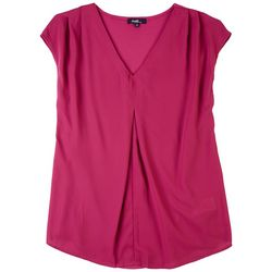 Angels Womens Pleated V-Neck  Sleeveless Top