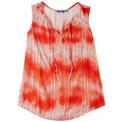 Fresh Womens Tie-Dye Stripes Sleveless Top
