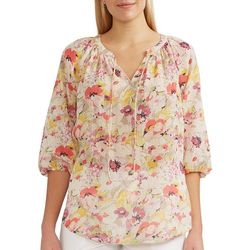 Chaps Womens Puff 3/4 Sleeves Top