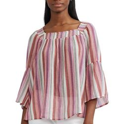 Chaps Womens Smocked Neck Top