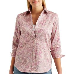 Chaps Womens All-over Paisley Button Down Shirt