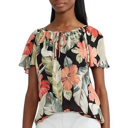 Chaps Womens Flowy Sleeves Top