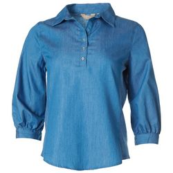 Coral Bay Womens Knit To Fit Denim Button Placket Top