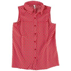 NY Collection Womens Sleeveless Button Down Top