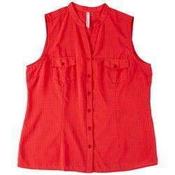 NY Collection Womens Textured Mandarin Collar Top