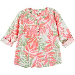 Coral Bay Womens All-Over Leaves 3/4 Shirt