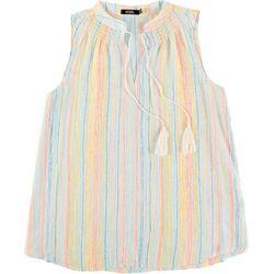 Cure Apparel Womens Multi Color Stripes Smocket Neck Top