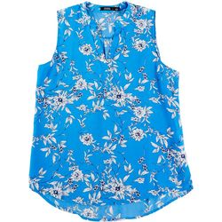 Cure Apparel Womens Split Neck Floral Sleeveless Top