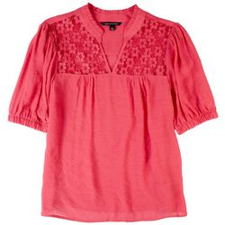 Zac & Rachel Womens Lace Yoke Short Sleeve Top