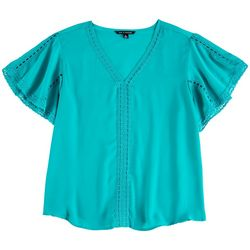 Zac & Rachel Womens Embroidered V-Neck Top