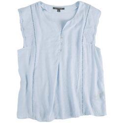 Zac & Rachel Womens Button Down & Crochet Sleeveless Shirt