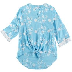 Cabana Cay Womens Floral Short Sleeve Tie Front Top