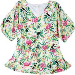 Hailey Lynn Womens Tropical Shirt With Tie