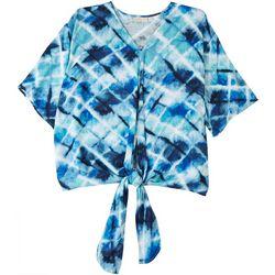 Hailey Lyn Womens Printed Tie Short Sleeve Top