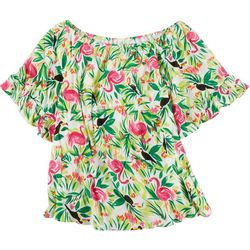 Hailey Lyn Womens Multi Pattern Off The Shoulder Top