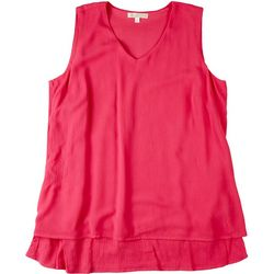 Hailey Lyn Womens Solid Fronds Layered Sleeveless Top