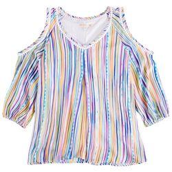 Hailey Lyn Womens Rainbow Stripes Cold Shoulder Top