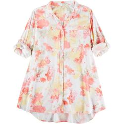 Khakis & Co Womens Painted Floral Woven Tunic Button Up Top