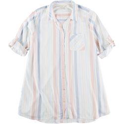 Khakis & Co Womens Stripe Woven Tunic Button Down Top
