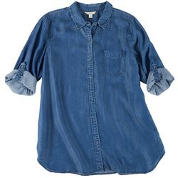 Khakis & Co Womens Denim Button Down 3/4 Sleeve Top