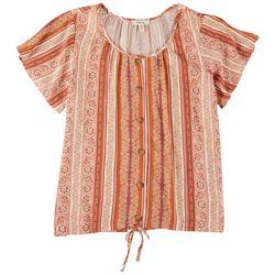Como Blu Womens Tie Front Printed Short Sleeve Top