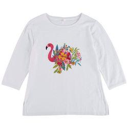 Cabana Cay Womens Floral Flamingo 3/4 Sleeve Sweater