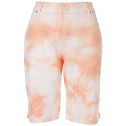 Gloria Vanderbilt Womens Tie Dye Button Hem Bermuda Shorts