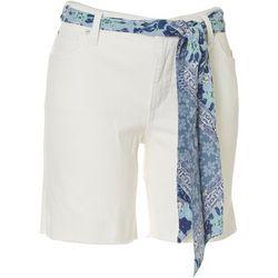 Vintage America Solid Tie Belt Bermuda Denim Shorts