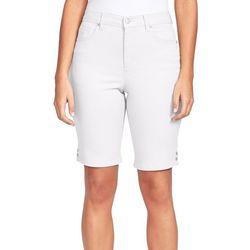 Gloria Vanderbilt Womens Amanda Button Accent Bermuda Shorts